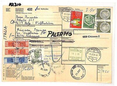 Az314 1981 Switzerland High Values Wolfhalden *insured Mail* Card Italy Pts