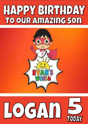 RYAN/'S WORLD c PERSONALISED BIRTHDAY CARD ANY NAME AGE RELATION
