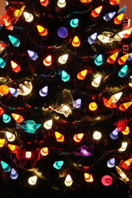 60 PURPLE SMALL TWIST BULBS Ceramic Christmas Tree Lights Flame Peg