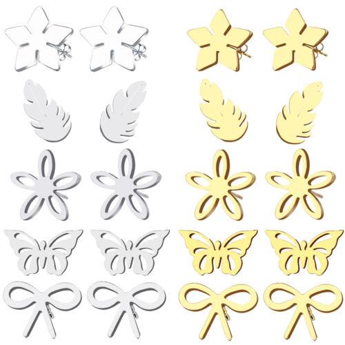 Silver Stud Earrings Gift Mens Boys Women Stainless Steel Hypoallergenic Gold