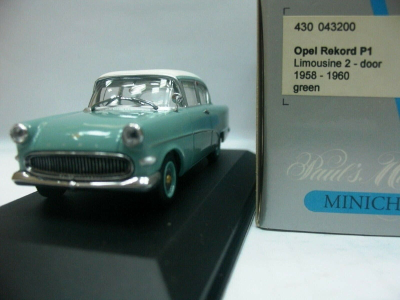 WOW EXTREMELY RARE Opel Rekord P1 Sedan 2d 1958 Aqua 1 43 Minichamps-Diplomat