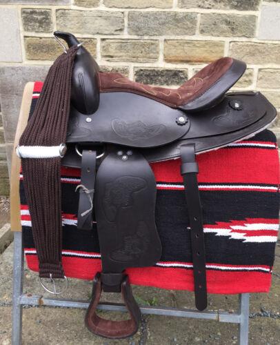 Windsor Brown Leather Western Saddle With Bridle Navaro Saddle Blanket /& Cinch