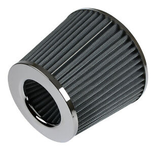 Universal-Car-Air-Filter-Induction-Kit-Sports-Car-Cone-Air-Filter-Chrome-Finish