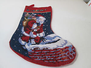 Santa-with-Sack-of-Toys-Down-Chimney-Tapestry-Christmas-Stocking-16-034