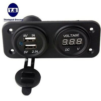 Dual USB 3.1 Amp Charger and Voltmeter Panel Mount Marine 12V Motorcycle Outlet