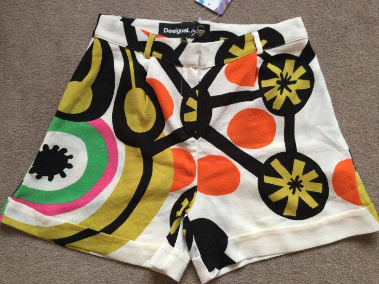 "Funky Desigual Smart Dress Shorts, Fantastic Colours & Patterning, 28"" Waist,NWT"