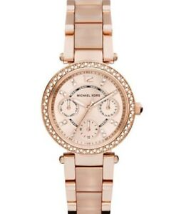 New Michael Kors Parker Rose Gold Blush Crystal Set MK6110 Watch for ... 2c18843b65