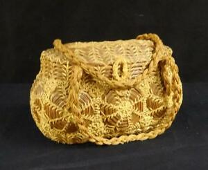 Antique-Wicker-amp-Twine-Basket-Purse-or-Handbag-Nice