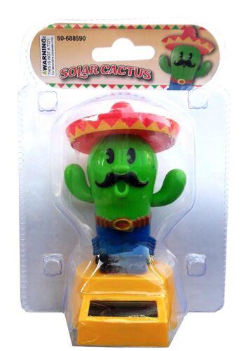 Solar Powered  Dancing Red Hat Green Cactus