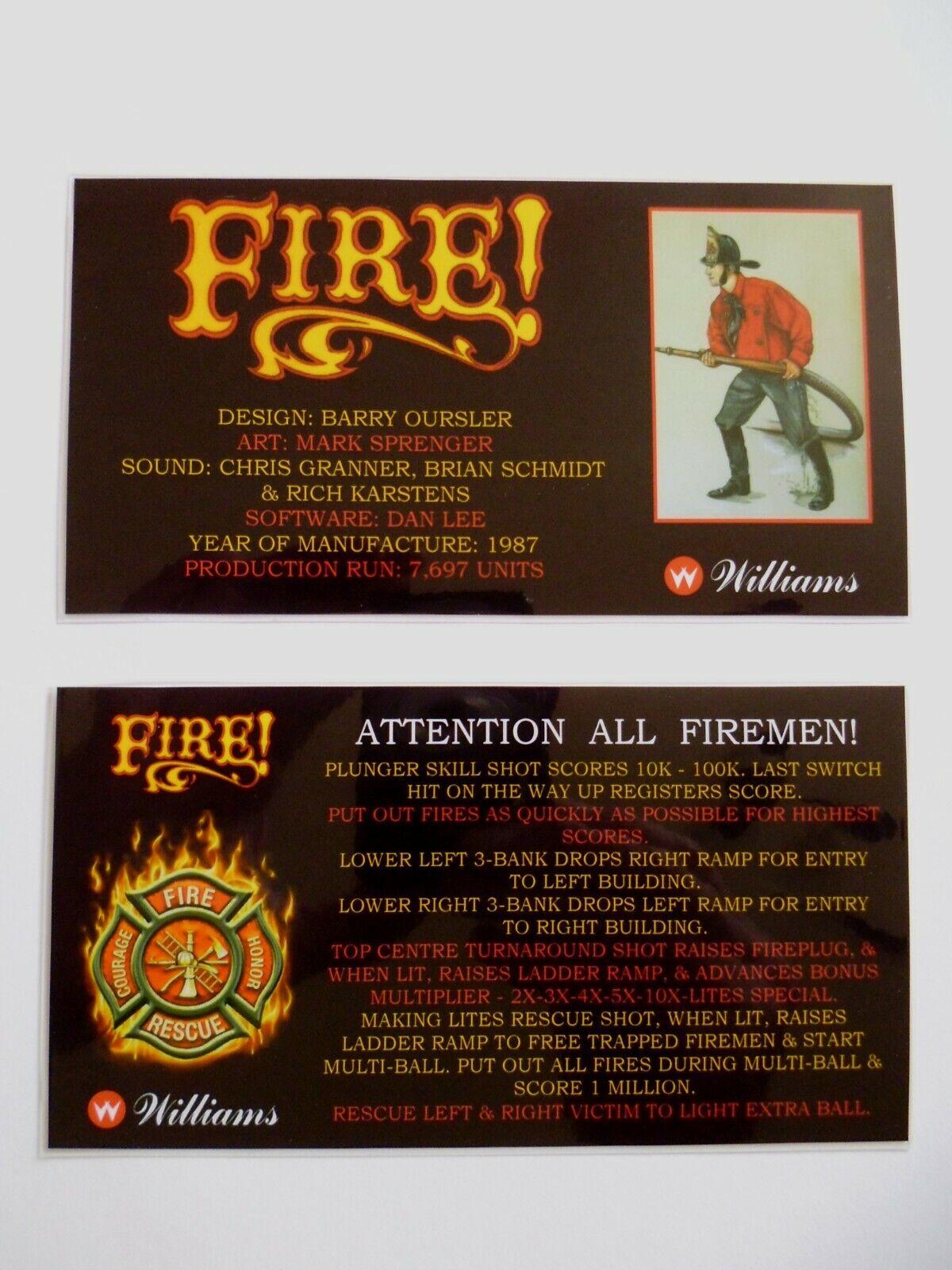 FIRE!' Williams 1987 Custom Instruction/Apron Cards (New)