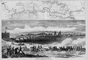 RICHMOND VIRGINIA MAP JAMES RIVER HORSES SOLDIERS CITY OF RICHMOND 1862 HISTORY