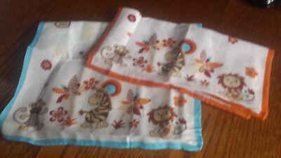 2 Stück Taschentücher 26x26cm Kinder Baumwolle Blau Orange Affe Löwe Giraffe Neu Starke Verpackung