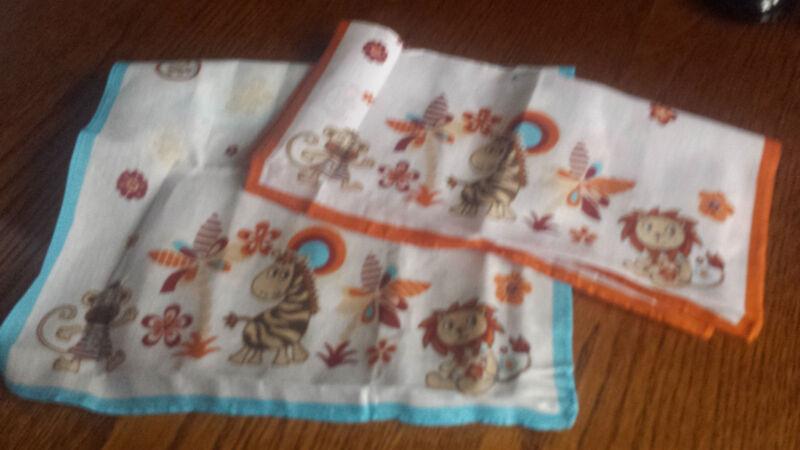 2 Stück Taschentücher 26x26cm Kinder Baumwolle Blau Orange Affe Löwe Giraffe Neu