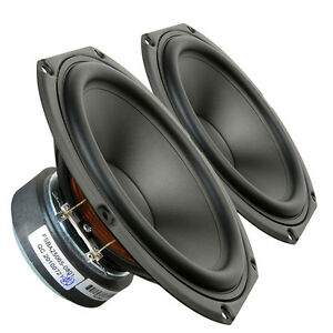 "Pair Peerless SDS-160F25PR01-08 6.5"" Paper Cone Woofer Speaker 8 ohm 120W 87dB"