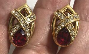Rhinestone Red Clip On Gold Tone