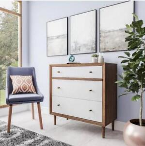 Chest 3 Drawer Dresser Nightstand Mid Century Modern Retro Walnut