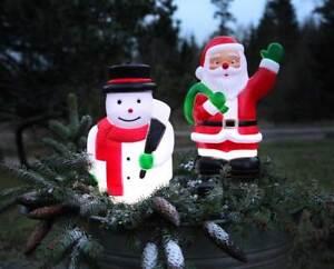 led weihnachtsmann o schneemann timer au en 5 leds 28x18cm weihnachtsdeko ebay. Black Bedroom Furniture Sets. Home Design Ideas