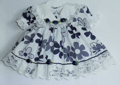 "Navy Ivory Lacy Dress Premature Baby 3-5 lbs 17-18/"" Reborn Dolls 1972 Dolly Togs"