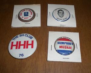 4 HUBERT HUMPHREY FOR PRESIDENT EDMUND MUSKIE ORIGINAL CAMPAIGN PIN BACK BUTTONS