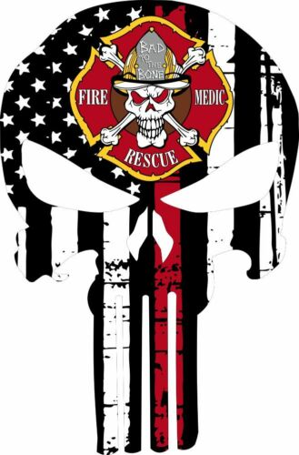 Thin Red Line Decal Firefighter Punisher Fire Rescue Medic Various Sizes