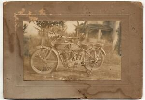 Antique-cabinet-card-photograph-POPE-MOTORCYCLE-Model-L-Twin-or-V-Twin-1910s