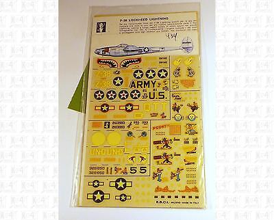 ESCI 1:72 Decals USAAF 388 94 27 15th, Maj Bong P-38 Lockheed Lightning Aircraft