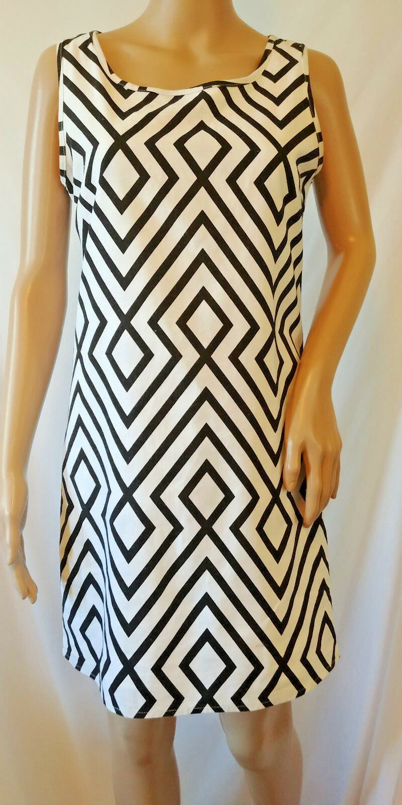Peach Love Cream Sleeveless Dress Size S Black White Linen Blend Lined