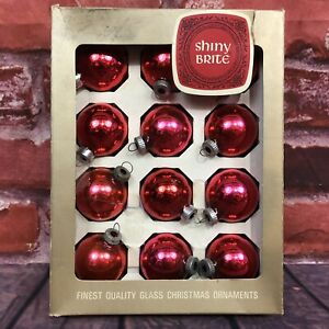 Vintage-SHINY-BRITE-Christmas-Ornaments-Glass-Bulbs-Set-of-12-in-Original-Box