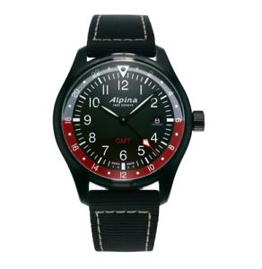 Alpina-Quartz-Men-039-s-Black-Dial-Grey-Band-42mm-Watch-AL-247BR4FBS6