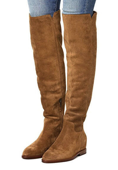 NEW ASH Jess Tall Suede Over-The-Knee Hidden Wedge Boot /US 7 Russet Brown