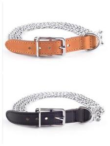 Ancol-Half-Leather-Nylon-Chain-Dog-Training-Collar