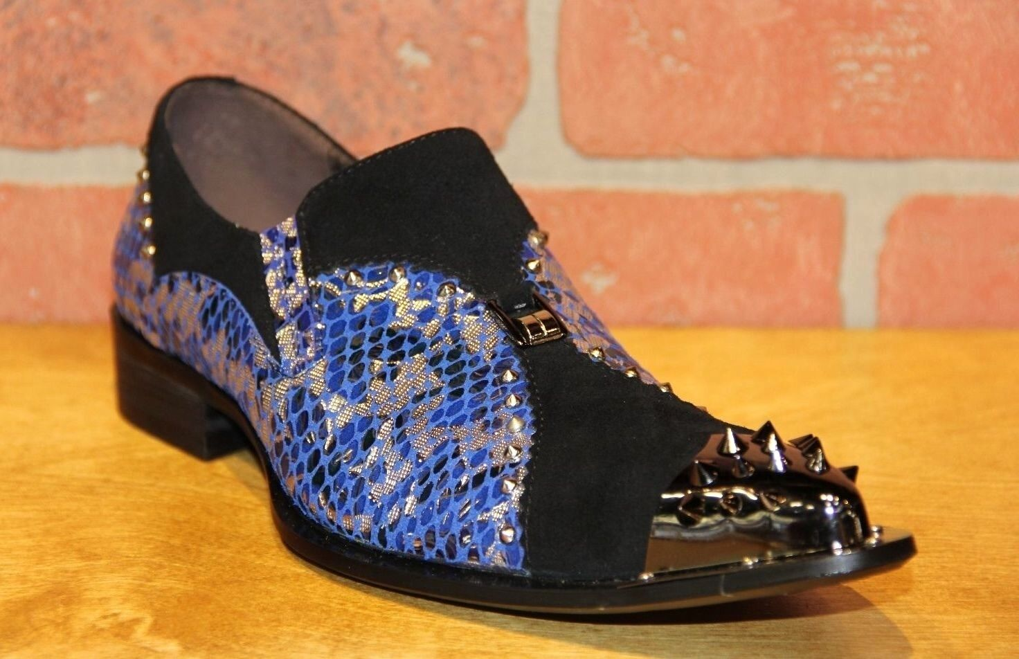 ZOTA único Para hombre Azul Plata Negro De Cuero Calzado Sin Cordones De Moda G736-13A