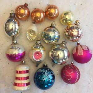 Details About Vintage Glass Christmas Ornaments Indent Bell Teardrop Mica Stencils Usa Lot 15