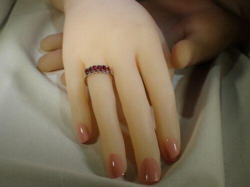 Naturel Rouge Orange Saphir Argent sterling 925-or 14k Manteau Sz 7.25 Ring #973