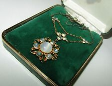 EXCEPTIONAL,VICTORIAN,9CT GOLD AND SILVER LAVALIER NECKLACE WITH LUSH MOONSTONES