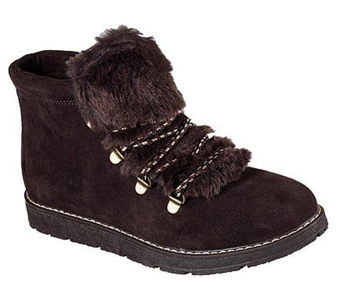 NEW BOBS Skechers EVA Memory Foam Brown Leather Alpine Ankle Boot Women's 6.5 M