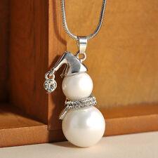 3fbe61cbdcd51 Fashion Women Jewelry Pearl Crystal Snowman Pendant Necklace ...
