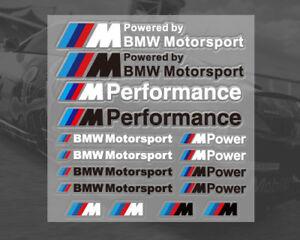 Vinyl-decals-for-BMW-Motorsport-M-Sport-M-Power-1-sheet-16-stickers-UK-stock