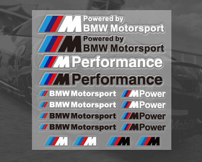 UK stock 1 sheet 16 stickers Vinyl decals for BMW Motorsport M Sport M Power