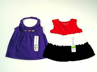 2 Summer Babydoll Tops Girls 18 months Purple & Red/White/Blue Jumping Beans NWT