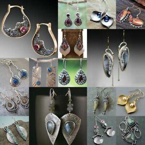 925-Silver-Ruby-Aquamarine-Turquoise-Sapphire-Earrings-Ear-Hook-Drop-Dangle-Gift