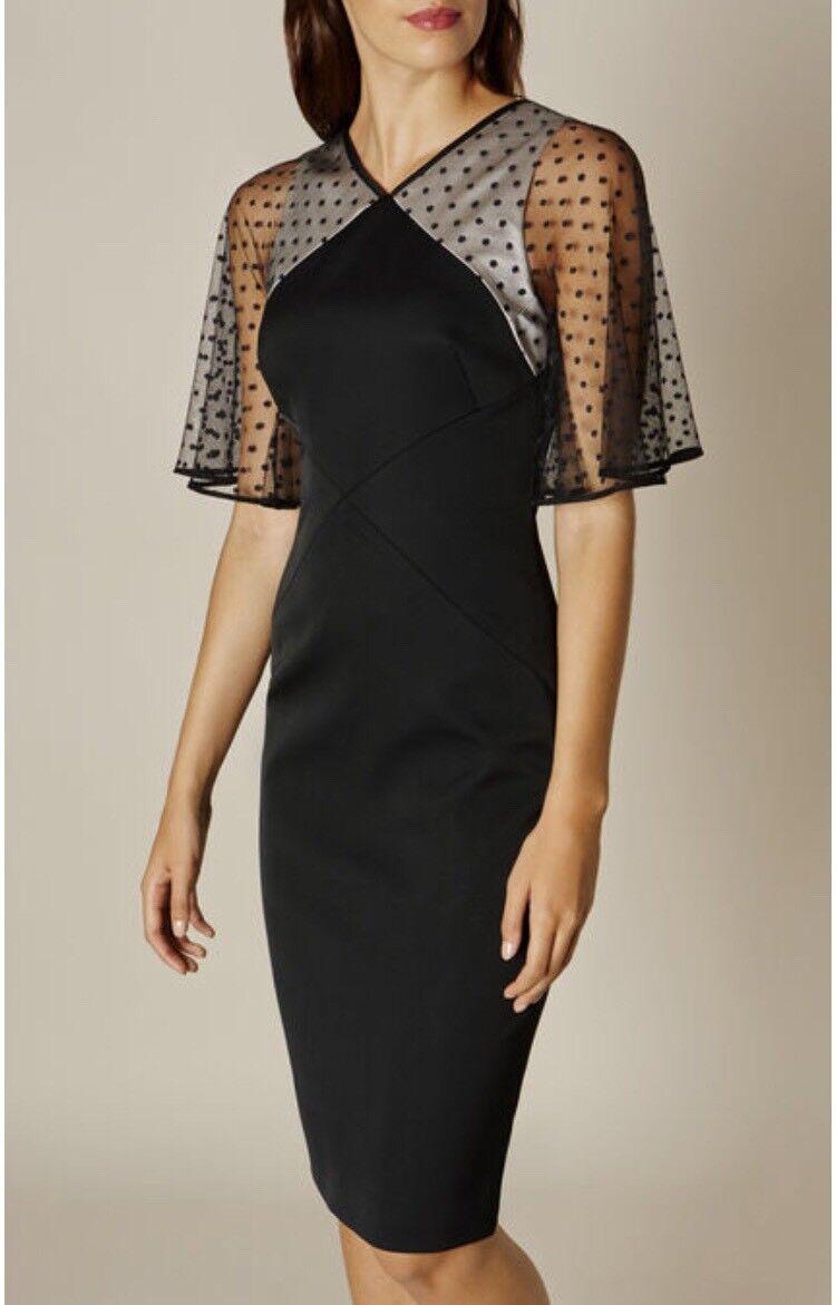 Karen Millen Noir et à Pois Tulle robe taille 6