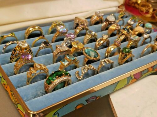 Fun Group of Vintage Costume Jewelry Rings 40+ Rin