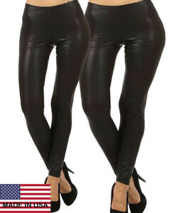 USA-Faux-Leather-Leggings-Elastic-Banded-Skinny-Pant-Jegging-S-3XL