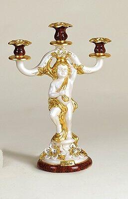 Romantico Candelabro 3 Fiamme Candeliere Via Veneto Ceramica Panna Oro Marrone Arredo Casa