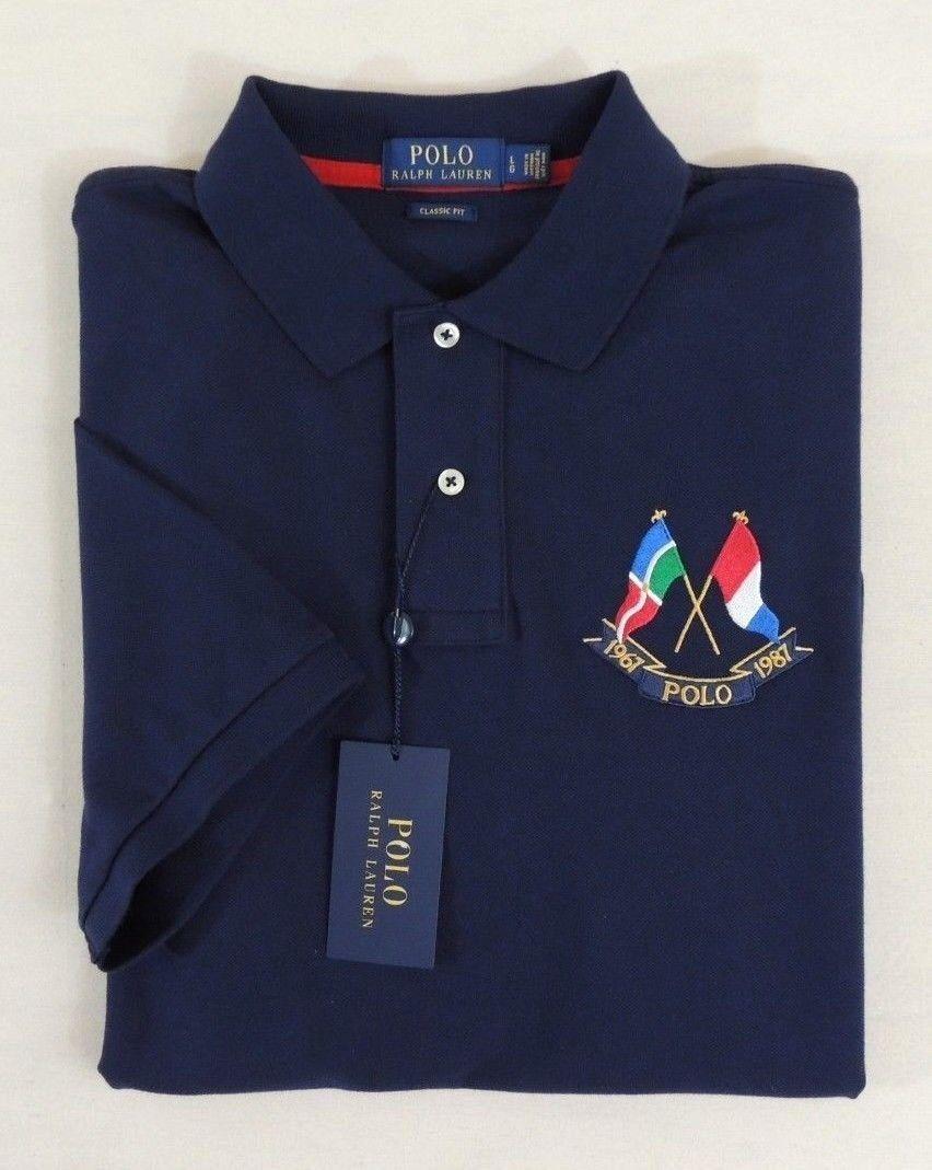 Men Polo Ralph Lauren Yacht Flag Classic Fit Short Sleeves Mesh Shirt L XL XXL