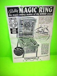 Bally-MAGIC-RING-1968-Original-Bingo-Pinball-Machine-Promo-Sales-Flyer-Rare-POOR