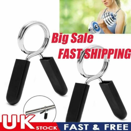 ~1Pair 25//28//30mm Barbell Dumbbell Spring Collar Clips Weight Lifting Fitness~