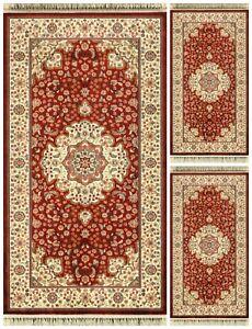 Set-Parure-3-pezzi-Tappeto-scendiletto-rettangolare-Opera-disegno-585-Rosso