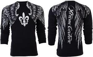 Doux Xtreme Couture By Affliction Homme T-shirt à Manches Longues Aerosmith Wings Ufc 58 $-afficher Le Titre D'origine BéNéFique Au Sperme